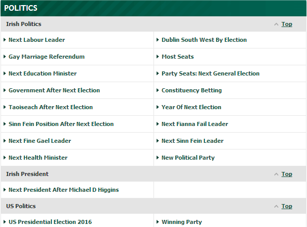 cotes sur élections bookmaker anglais