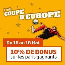 Coupe d'Europe : 10% de bonus sur les paris gagnants
