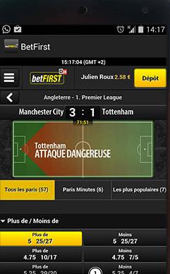 Capture d'écran de la fonction Play by Play de l'application betFIRST