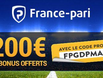 Code promo France Pari : entrez FPGDPMAX – 200€ de bonus en 2017