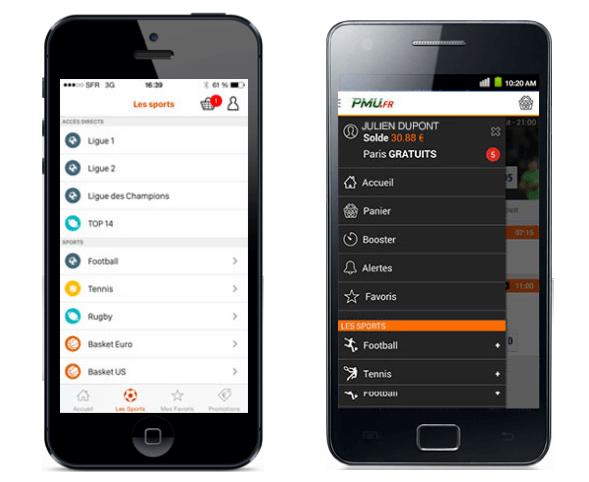 Application PMU Sport : compatibilité Android et iOS