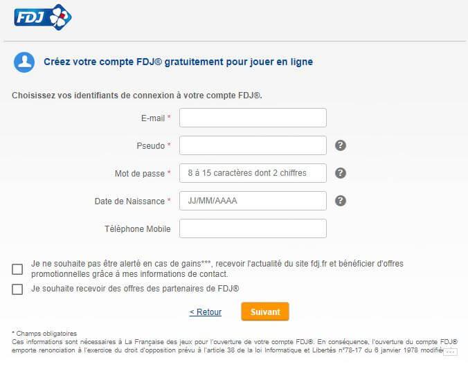 formulaire inscription fdj