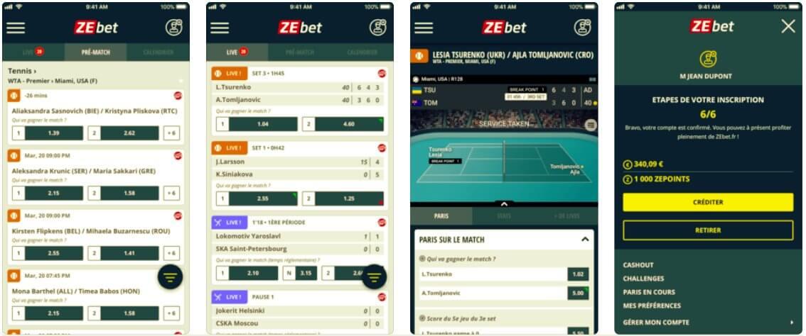 Appli iOS et Android ZEbet