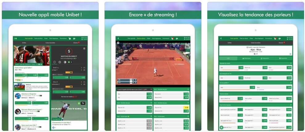 Caractéristiques de application iOS/Android d'Unibet