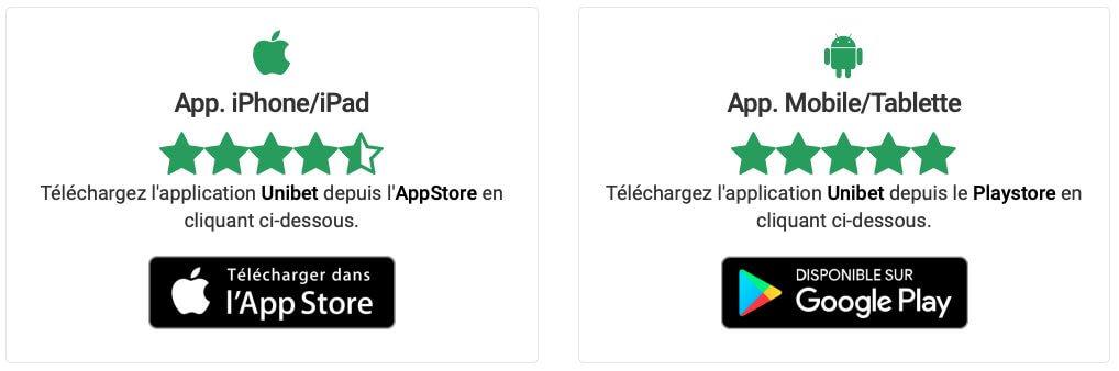 Téléchargement de l'app mobile d'Unibet