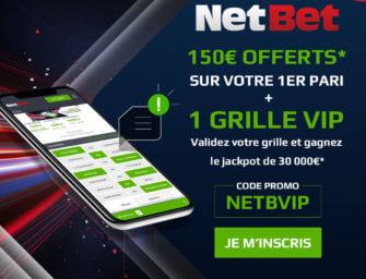 Code promo Netbet juin 2021 : entrez NETBVIP – 150€ offerts